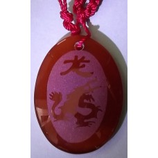 Dragon Red Agate Oval Necklace