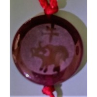 Ox Red Agate Round Pendant
