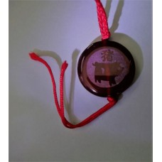 Pig Red Agate Round Necklace