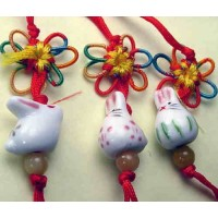 3 Porcelain Tuzki Rabbit Phone Straps
