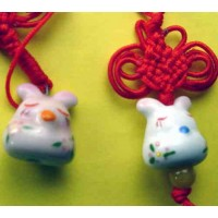 4 Porcelain Tuzki Rabbit Phone Straps