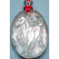 Crystal Horse Oval Pendant