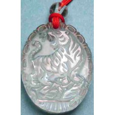 Crystal Tiger Oval Pendant