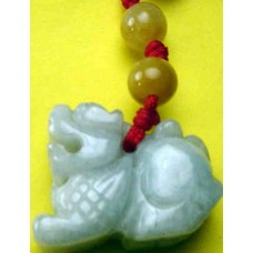 Qui Dragon White Jadeite Charm