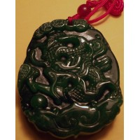2-Side Carved Green Jadeite Dragon & Phoenix Pendant