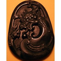 Kissing Dragon & Phoenix Black Jade Pendant