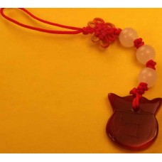 Money Bag Red Jade Phone Strap