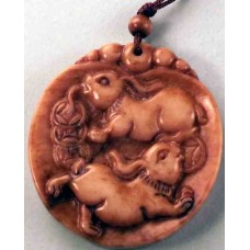 Chinese Old Jade 2 Rabbit-Carrying-Money Round Pendant